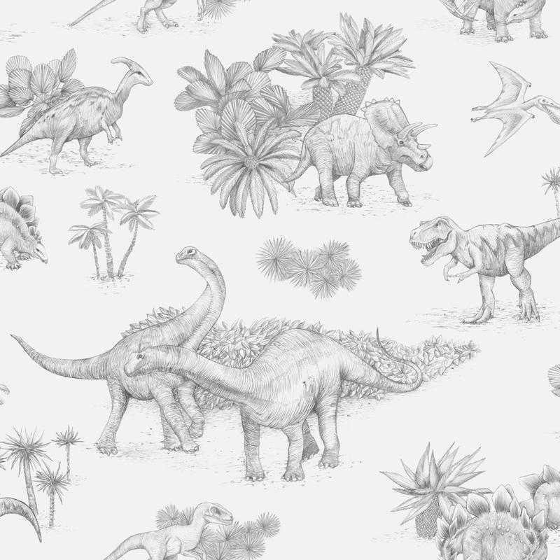 Fototapete 'Dinos' grau 180x270cm