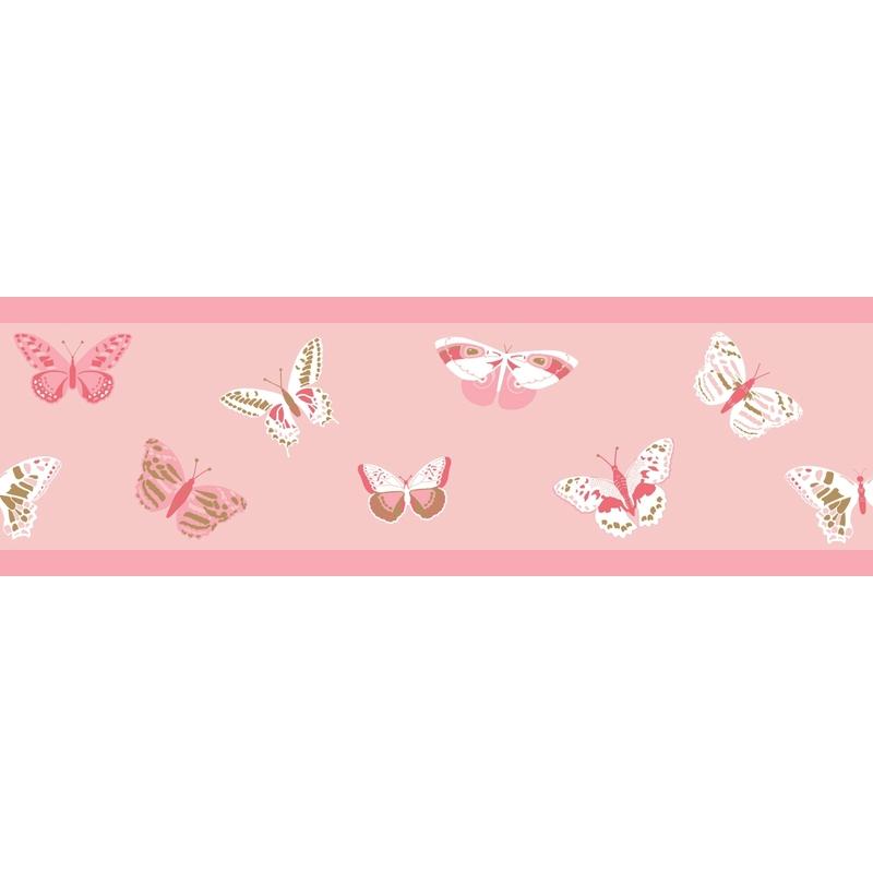 Bordüre 'Schmetterlinge' rosa/beige