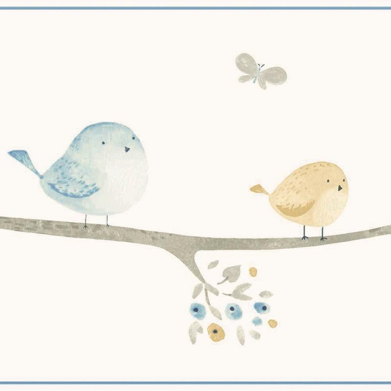 Bordüre 'My Little World' Vögelchen blau/beige