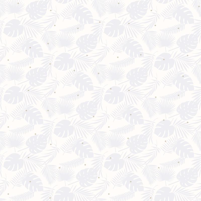 Tapete 'Blätter' weiß/blau/gold