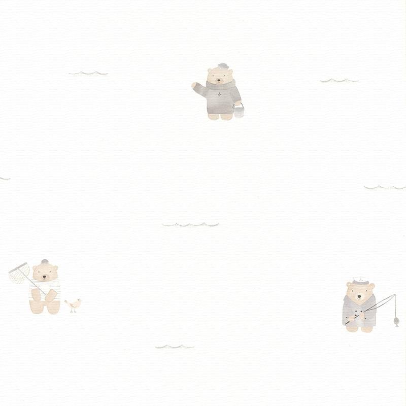 Stoff 'My Little World' Strandbären beige