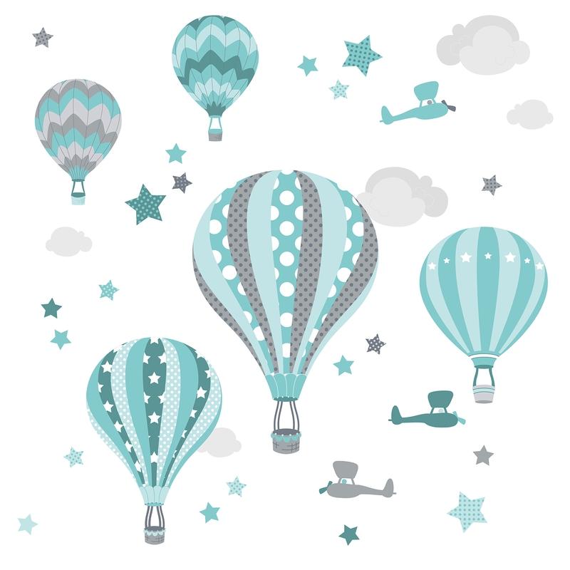 Wandsticker 'Heißluftballons' mint/grau