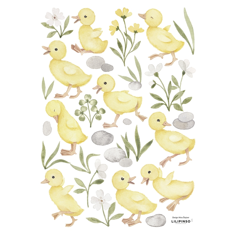 Wandsticker 'Lucky Ducky' Küken gelb