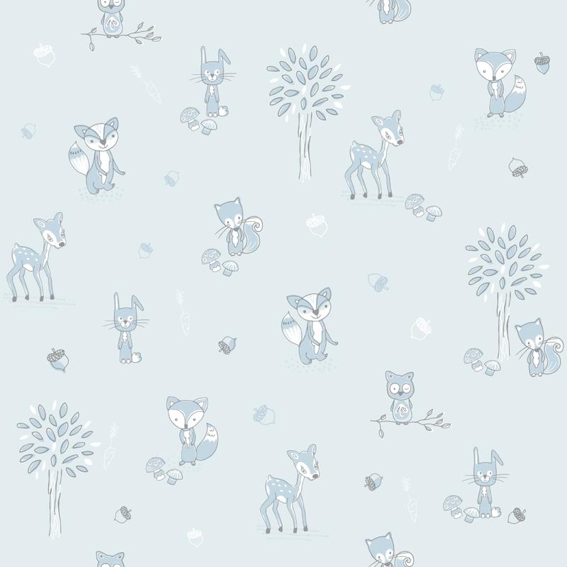 Kindertapete 'Waldtiere' hellblau/grau