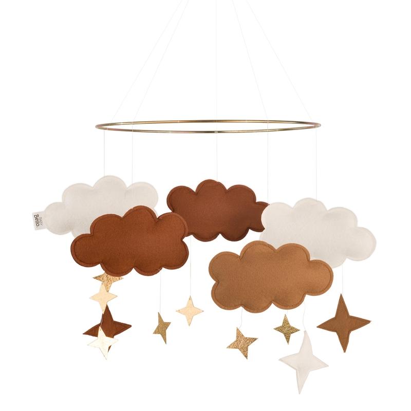 Mobile 'Wolken' Filz camel/gold