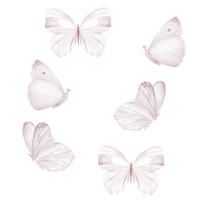 Stoff-Wandsticker 'Schmetterlinge' weiß/rosé
