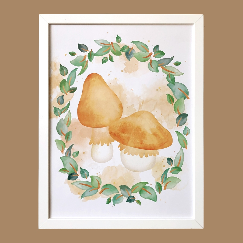 Poster 'Pilze & Blätter' 30x40cm handgemalt