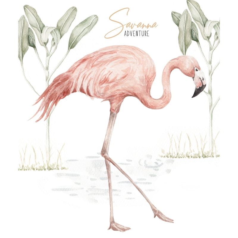 Wandsticker 'Flamingo' altrosa 52x56cm