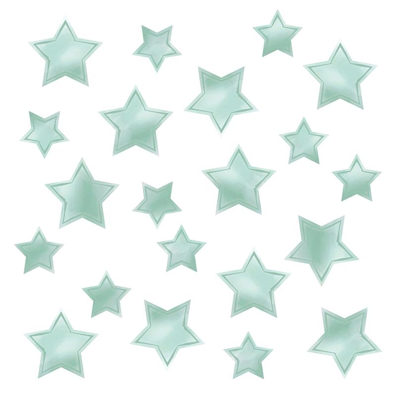 Wandsticker 'Sterne' Aquarell mint 21-tlg.