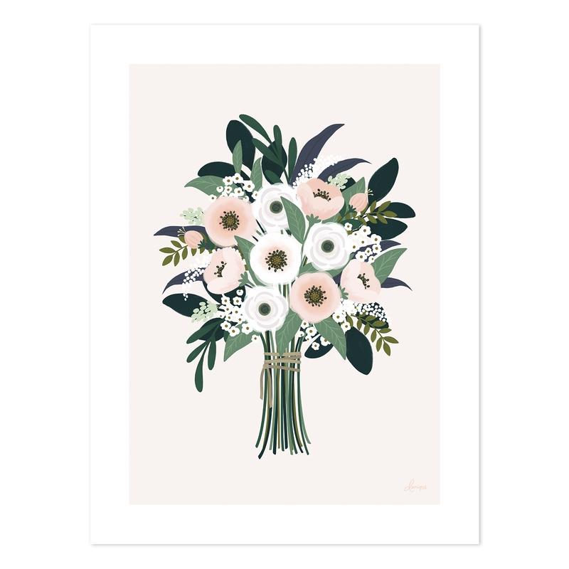Poster 'Wonderland' Blumen rosa 30x40cm