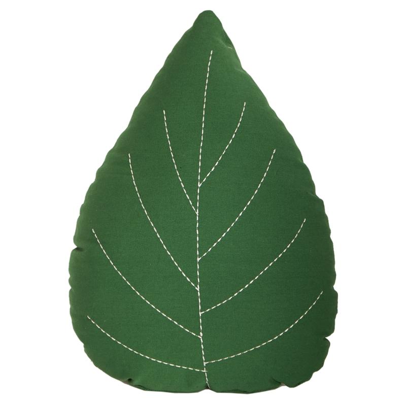 Spielkissen 'Blatt' bestickt waldgrün 45cm