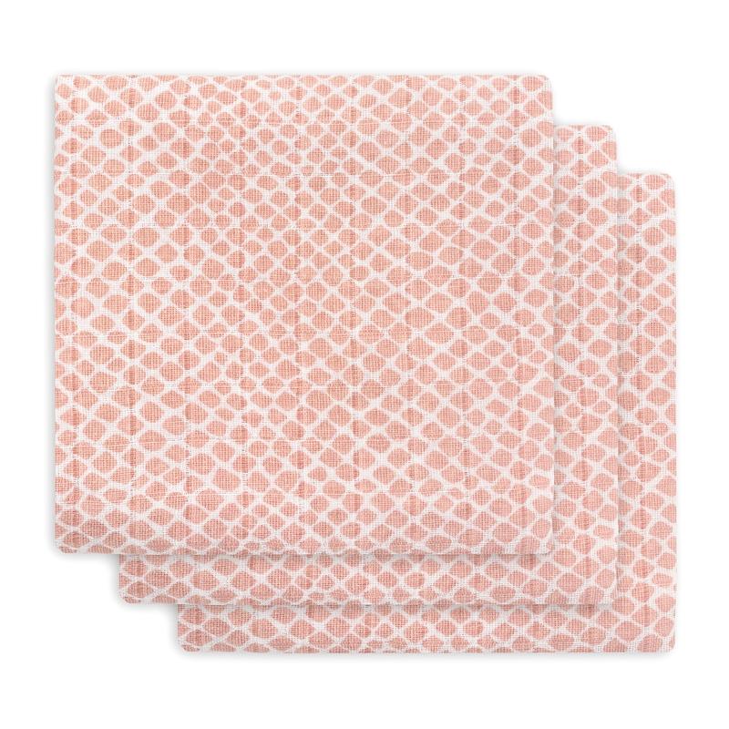Mulltücher 'Kacheln' rosa 3er Set 70x70cm