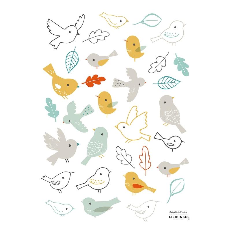 Wandsticker 'Vögel & Blätter' pastell