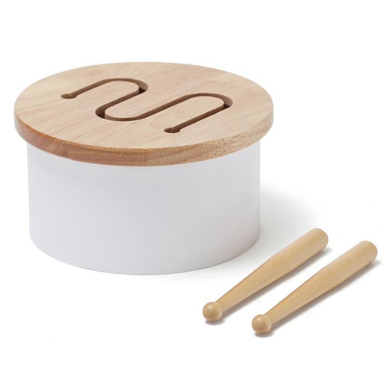 Kindertrommel Holz weiß 16cm ab 18 Monaten