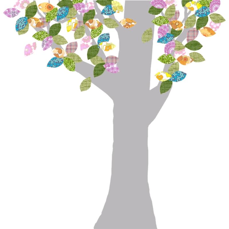 Tapetenbaum groß silber/bunt
