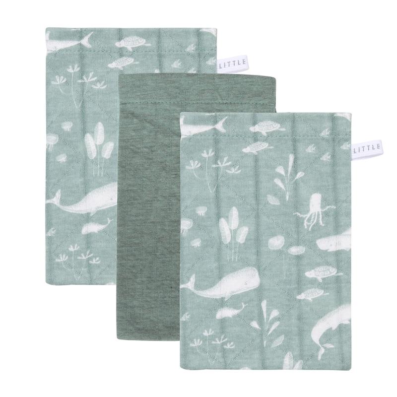 Waschlappen 'Ocean' mint/jade 3er Set