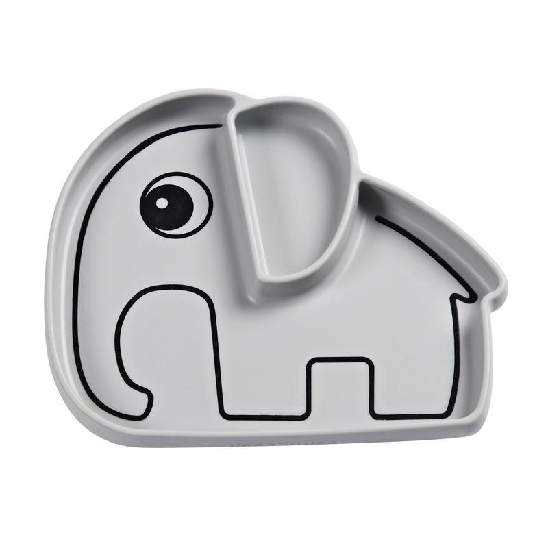 Silikonteller 'Stick & Stay' Elphee Elefant grau