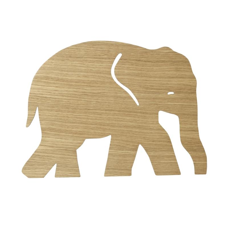 Wandlampe 'Elefant' Holz natur ca. 26x35cm