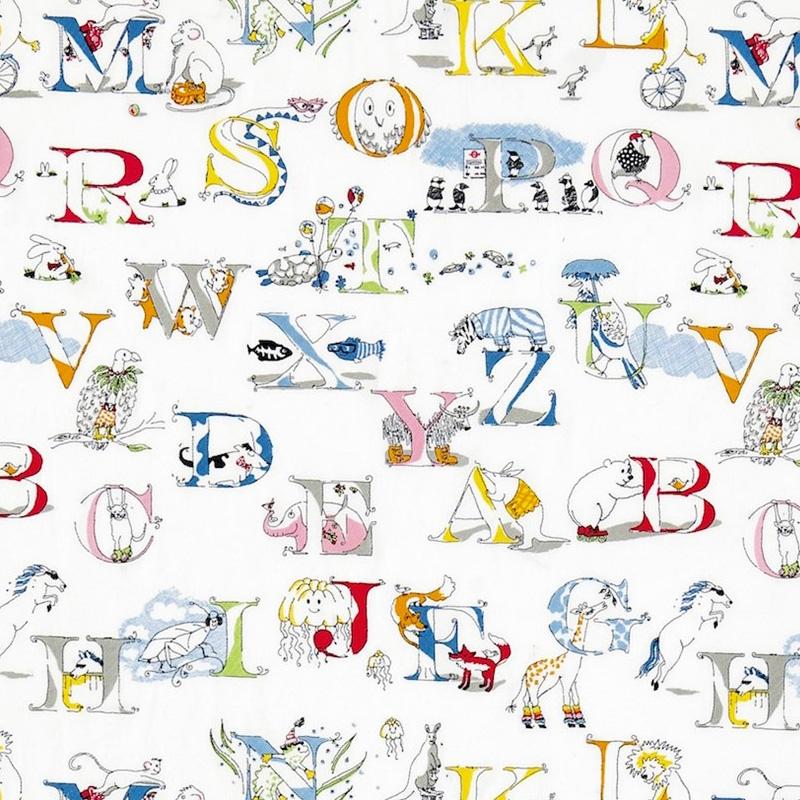 Kinderzimmer Stoff mit Stickerei 'Alphabet Zoo'
