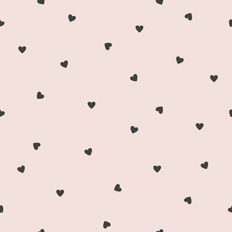 Vliestapete 'Herzen' puderrosa/schwarz