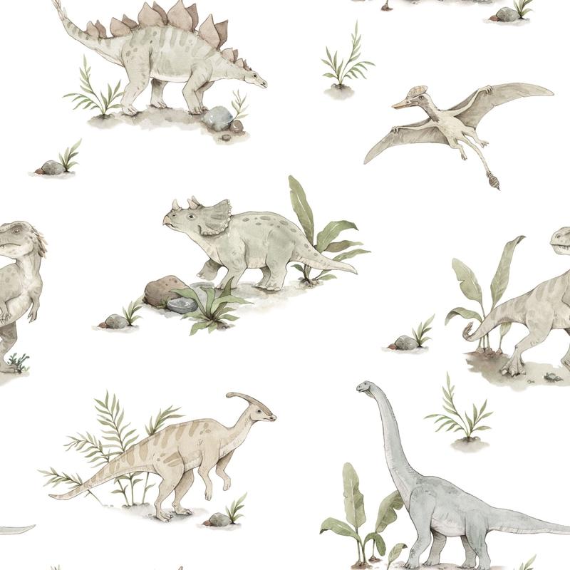 Vliestapete 'Dinos' beige/grün 50x280cm