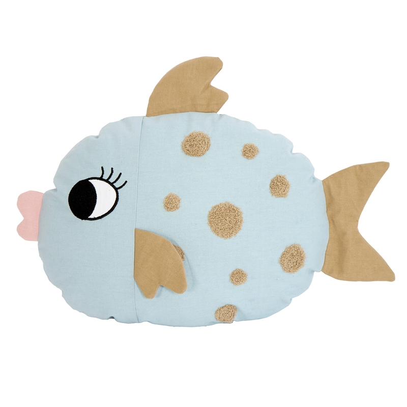 Bio Spielkissen 'Fisch' hellblau 45cm