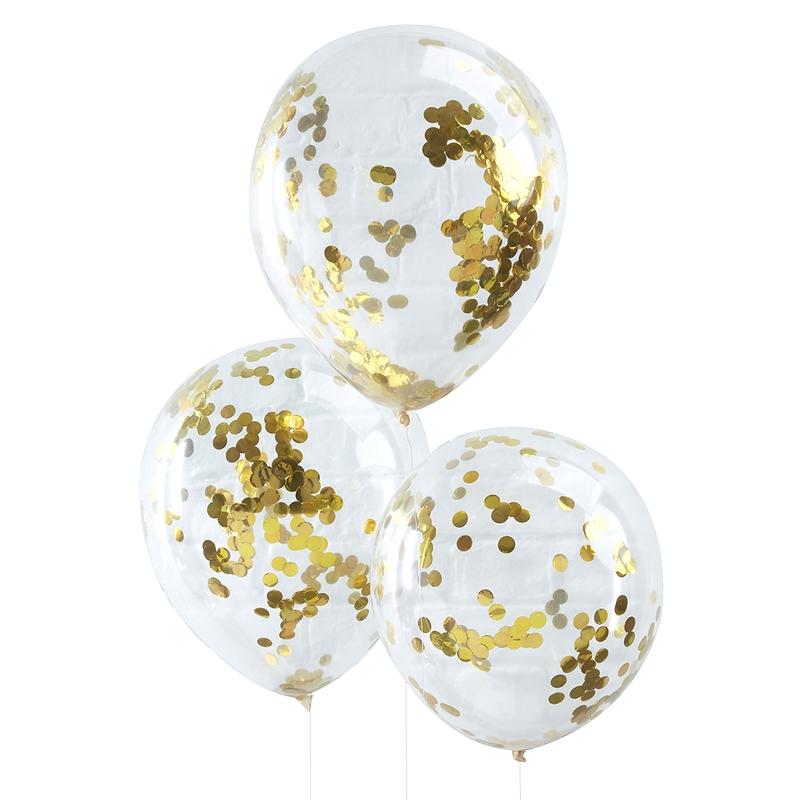 Luftballons transparent/gold 5 St.