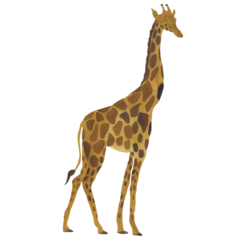 Stoff-Wandsticker 'Giraffe' senfgelb 96cm