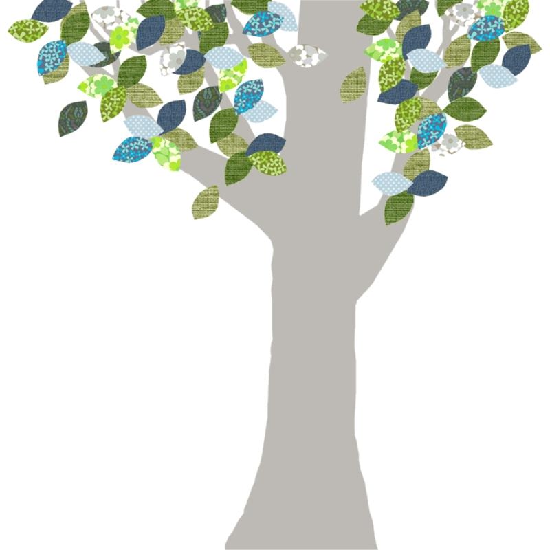 Tapetenbaum groß silber/blau/grün