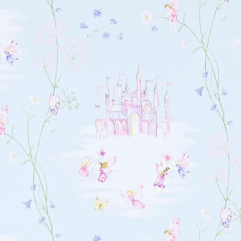Tapete 'Feenschloss' aqua/rosa/flieder