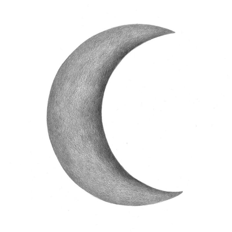 Wandsticker 'Halbmond' grau handgezeichnet
