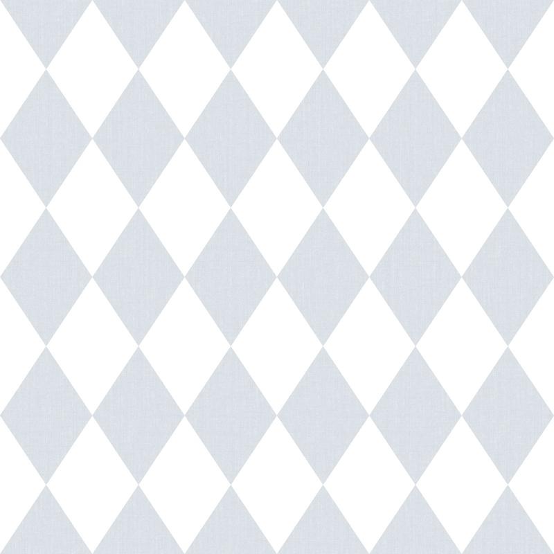 Vliestapete 'Rauten' hellblau/weiß