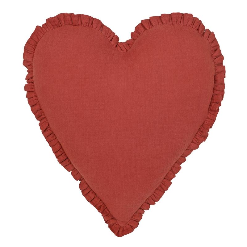 Kissen 'Herz' mit Rüschen rostrot 40cm
