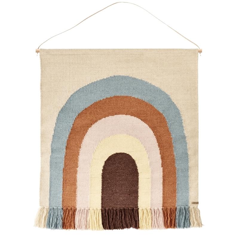 Wandteppich 'Regenbogen' beige/blau