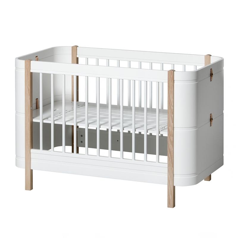 Babybett 'Mini+' Eiche/weiß umbaubar