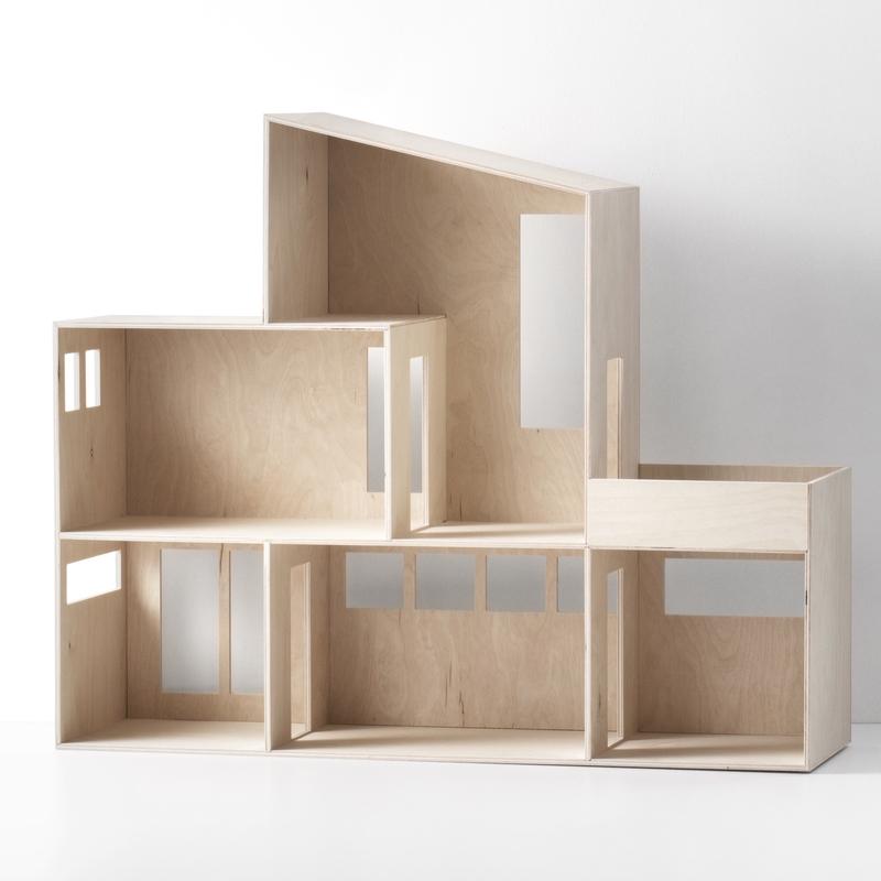 Puppenhaus-Regal aus Naturholz ab 3 Jahren