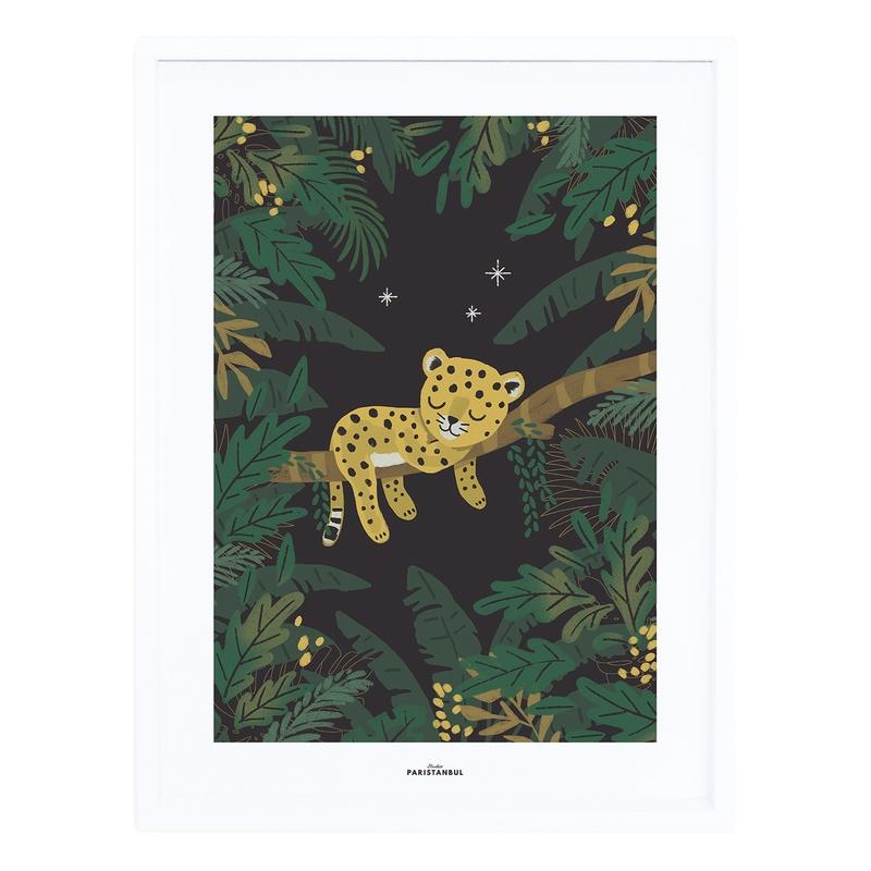 Bild 'Jungle' Babyleopard grün 30x40cm