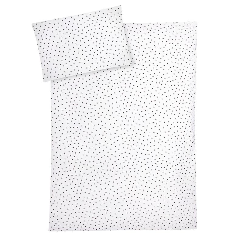 Bettwäsche Jersey 'Punkte' weiß/grau 100x135cm