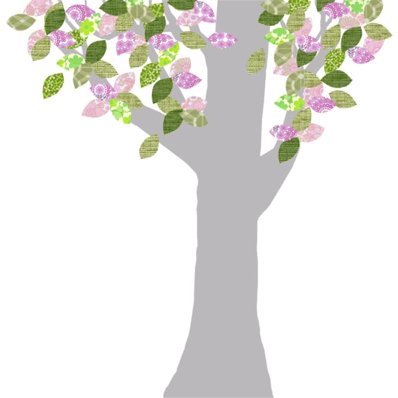 Tapetenbaum groß silber/rosa/grün