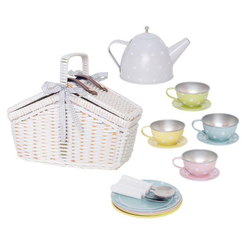 Picknickkorb mit Teeset pastell ab 3 Jahren