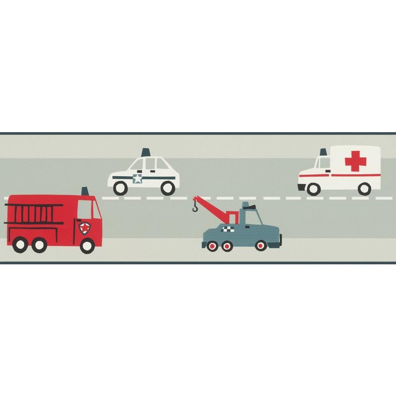 Bordüre 'Fahrzeuge' softmint/rot