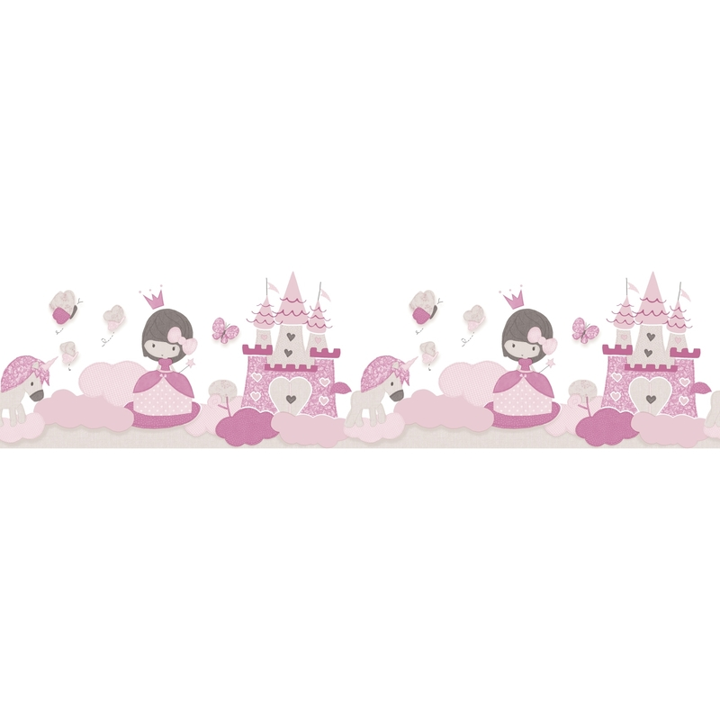Kinderbordüre 'Prinzessin' rosa/creme