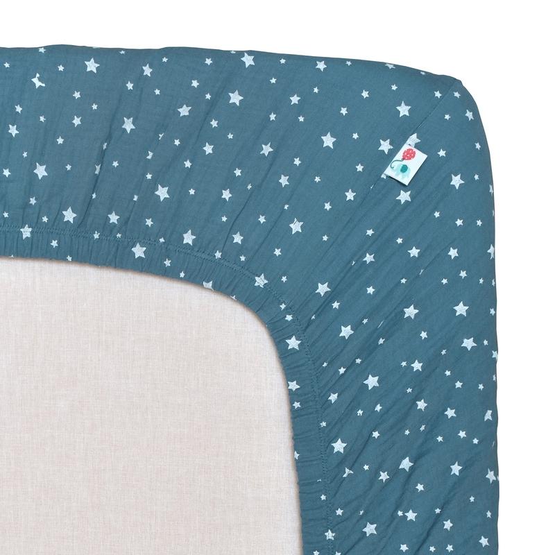 Spannbettlaken 'Sterne' Musselin rauchblau 70x140cm