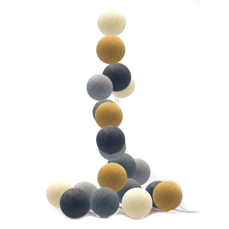 Lichterkette Cotton Balls LED grau/senfgelb