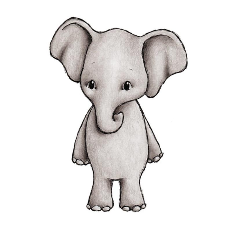 Tier-Wandsticker 'Elefant' handgezeichnet