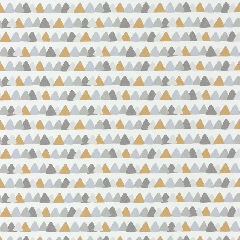 Tapete 'Rose & Nino' Dreiecke grau/senf