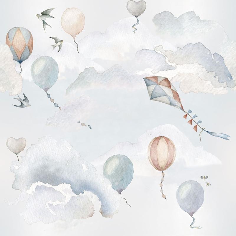 Fototapete 'Luftballons' hellblau 100x280cm