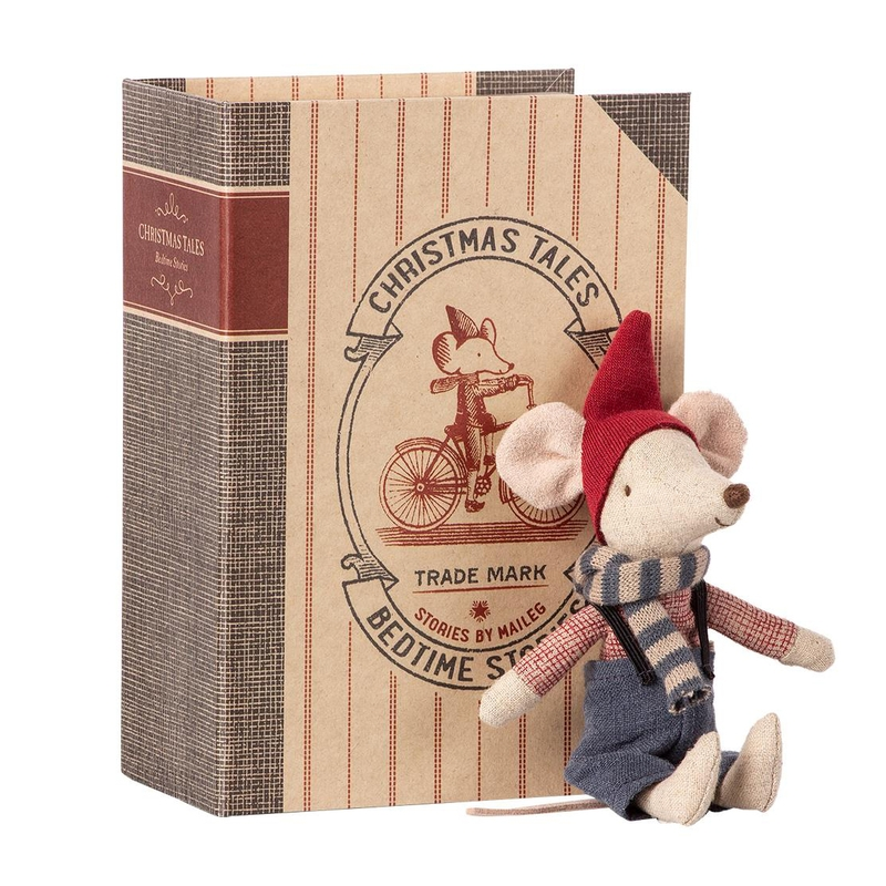Weihnachtsmaus 'Junge' beige/rot 17cm (Micro)