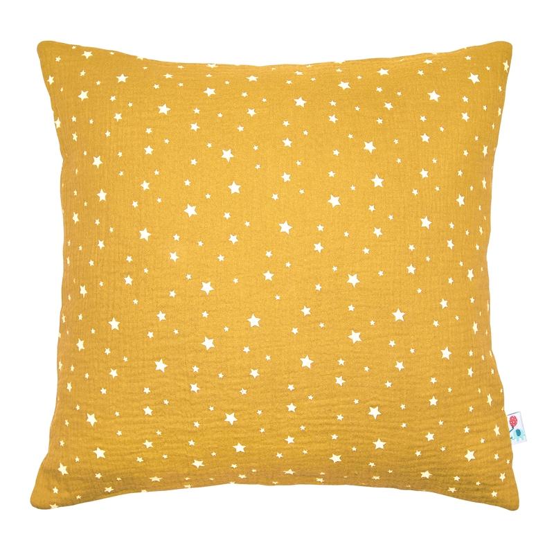 Kissenbezug 'Sterne' Musselin senfgelb