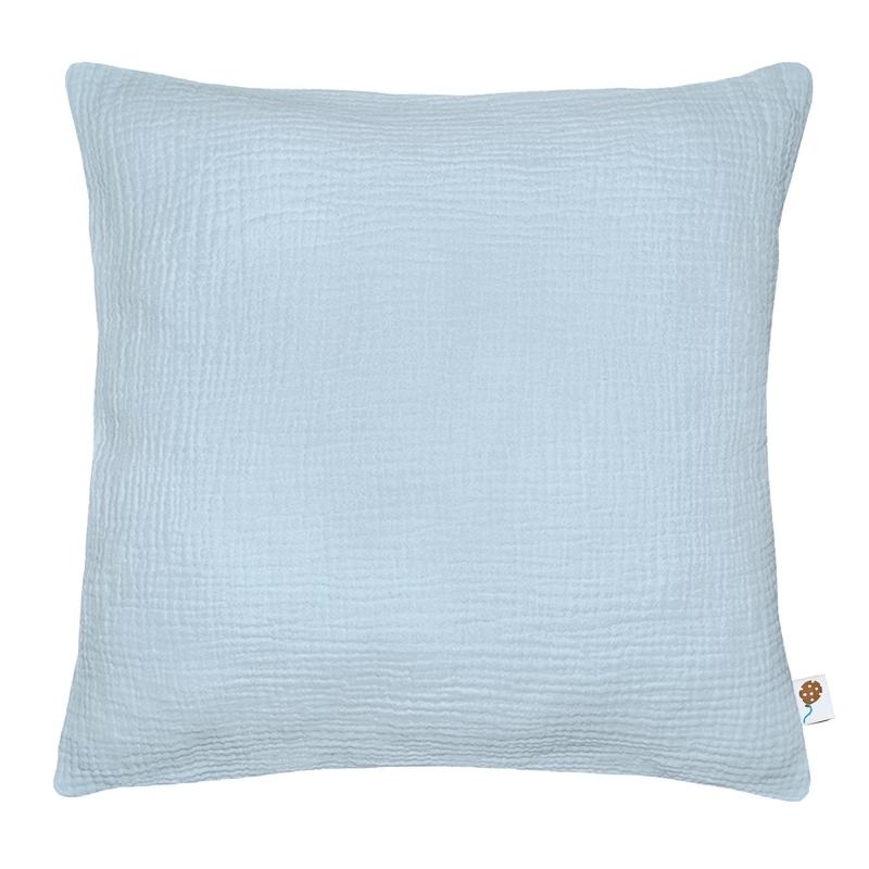 Kissenbezug Musselin pastellblau handmade